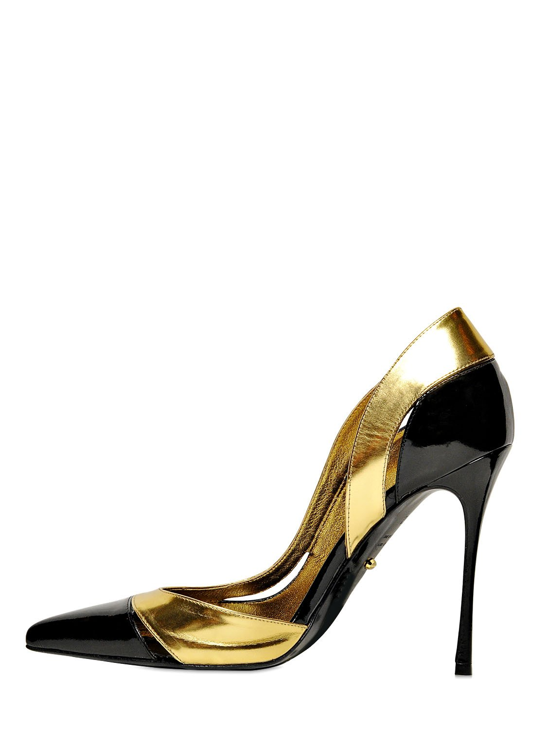 sergio rossi 105mm ying yang metallic leather pumps in gold black gold lyst. Black Bedroom Furniture Sets. Home Design Ideas