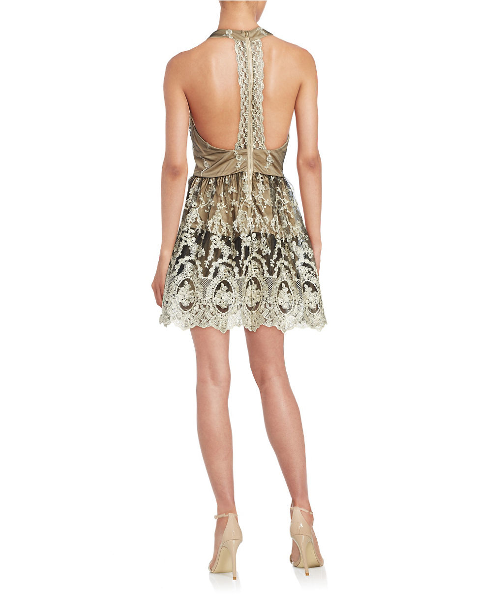 lord taylor lace fit and flare dress in metallic lyst