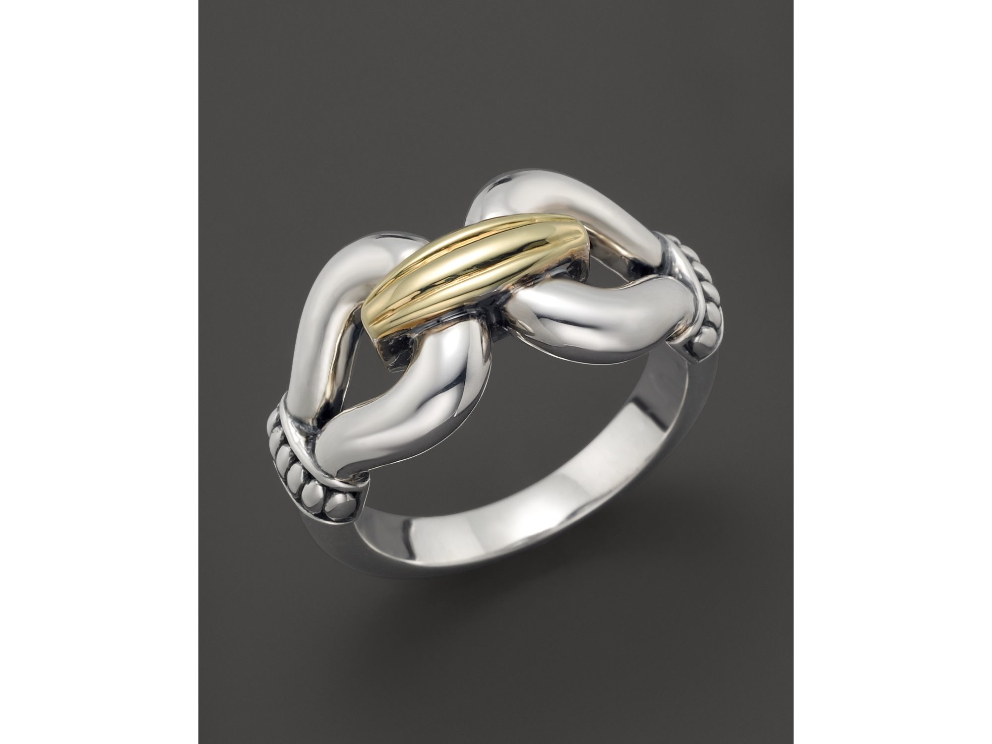 lagos 18k gold and sterling silver derby ring in metallic