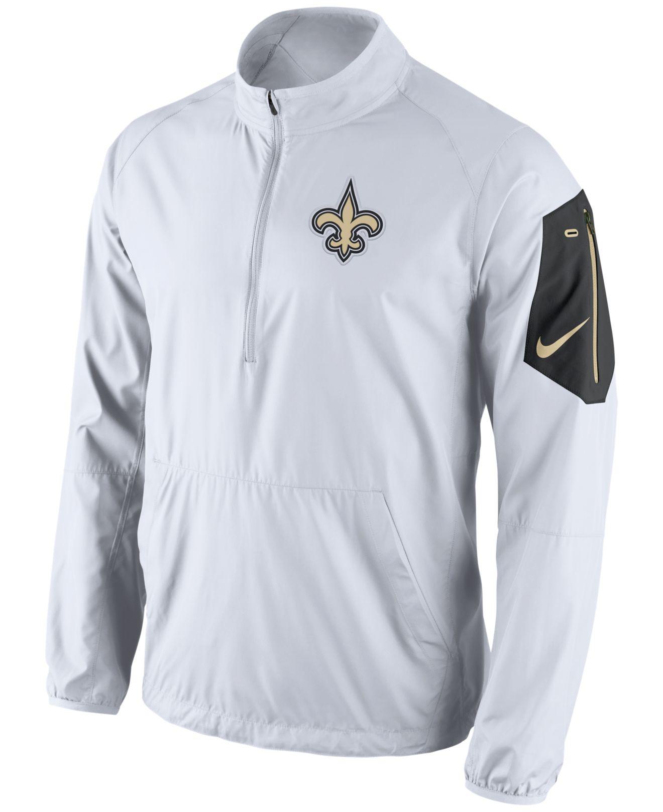 new style 290b4 3bf10 White Men's New Orleans Saints Lockdown Half-zip Jacket