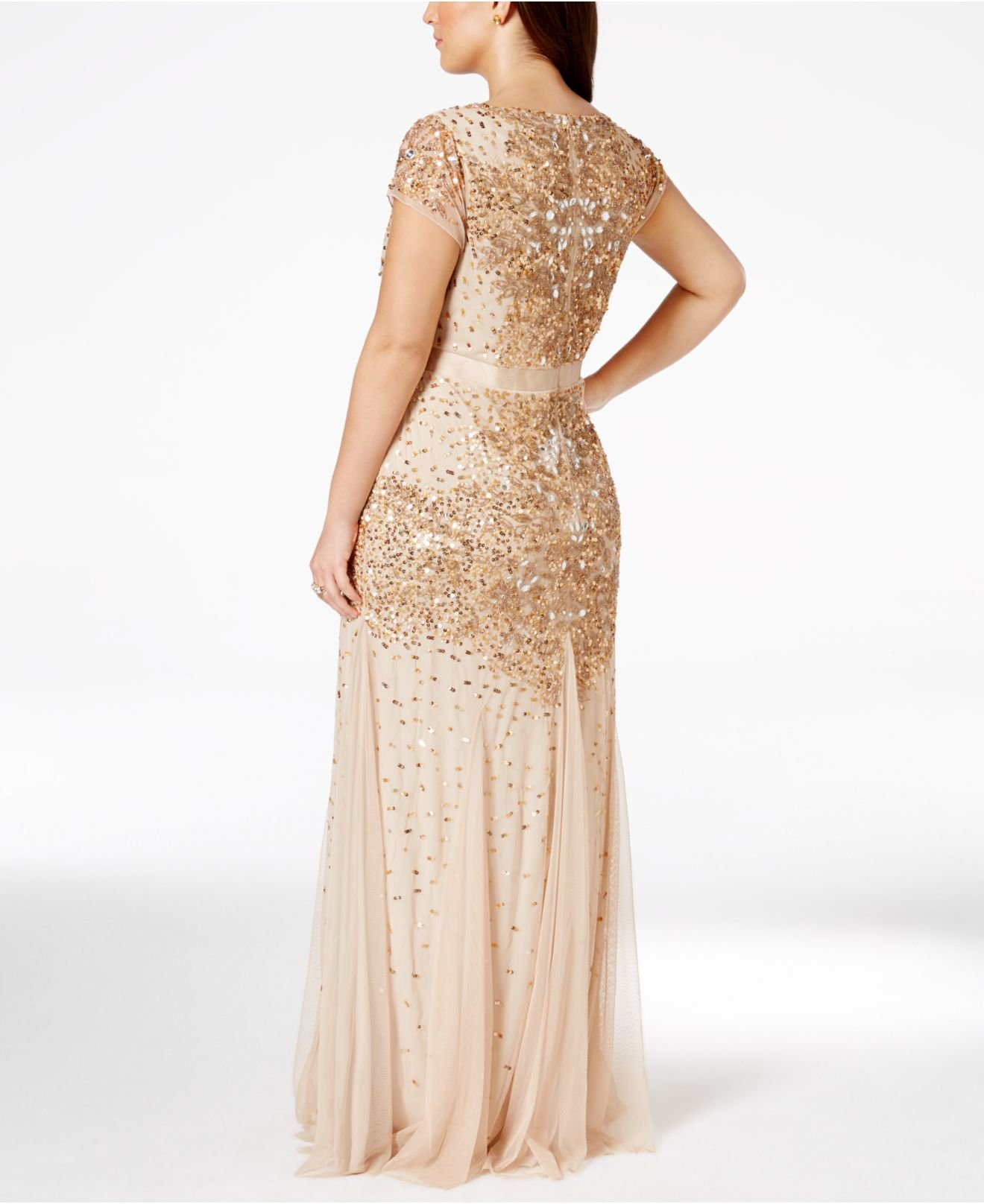 Plus Size Cap-sleeve Embellished Gown