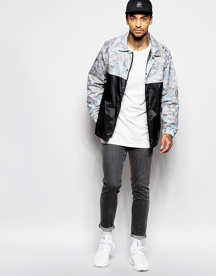 Lyst hype coach jacket with world map print in blue for men gallery gumiabroncs Gallery