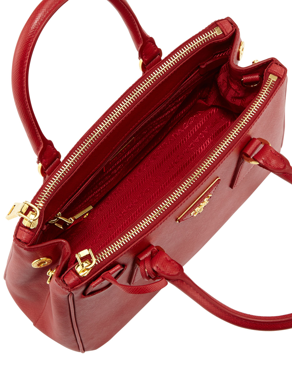 Prada Saffiano Baby Executive Tote Bag With Strap in Red | Lyst
