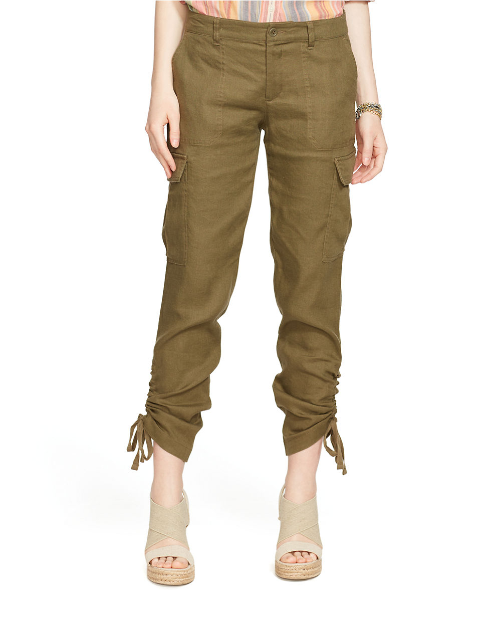 Model Vince Linenblend Cargo Pants In Natural  Lyst