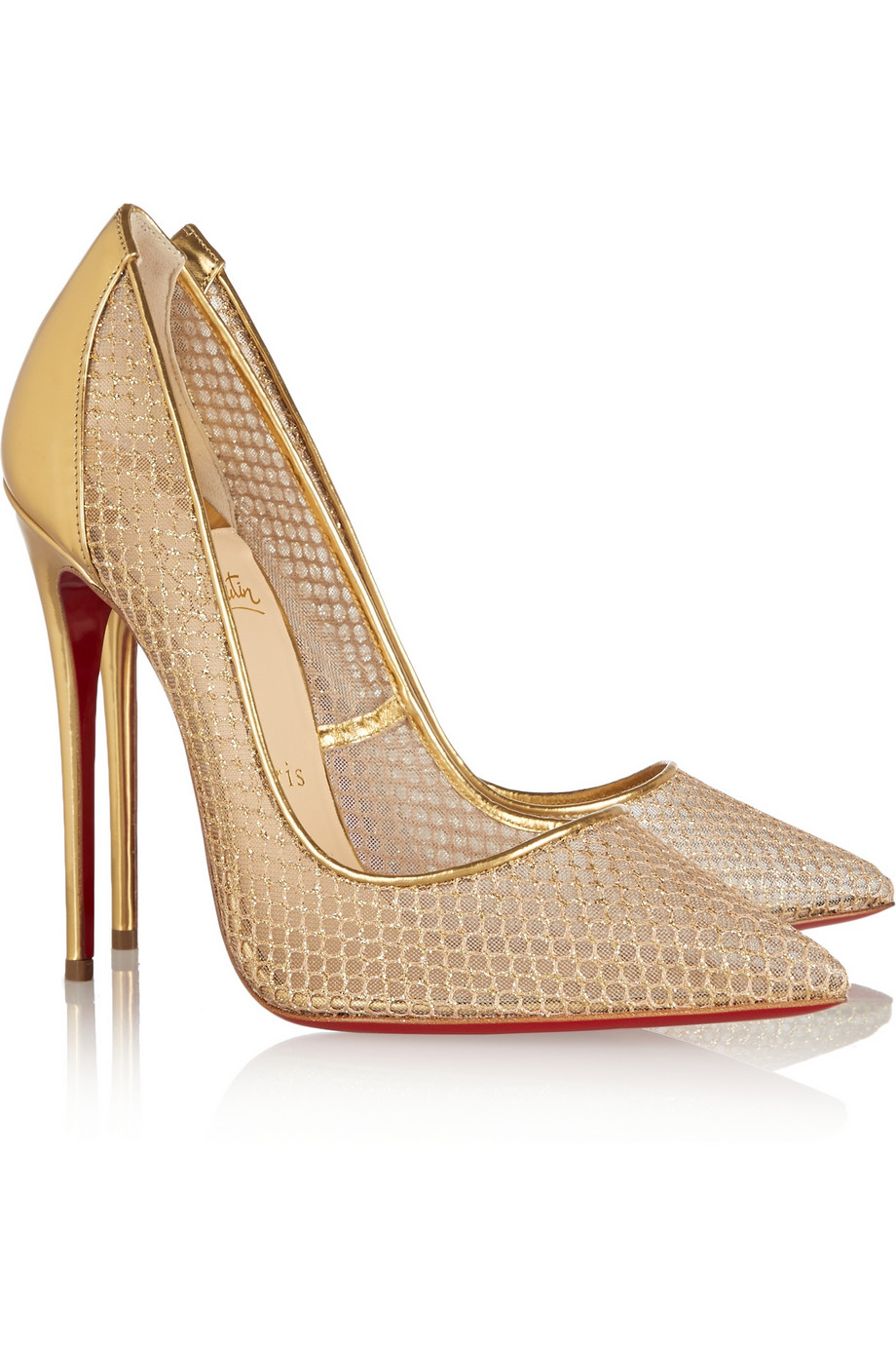 b67b70fb852 Christian Louboutin Follies Resille 120 Metallic Leather And Fishnet ...