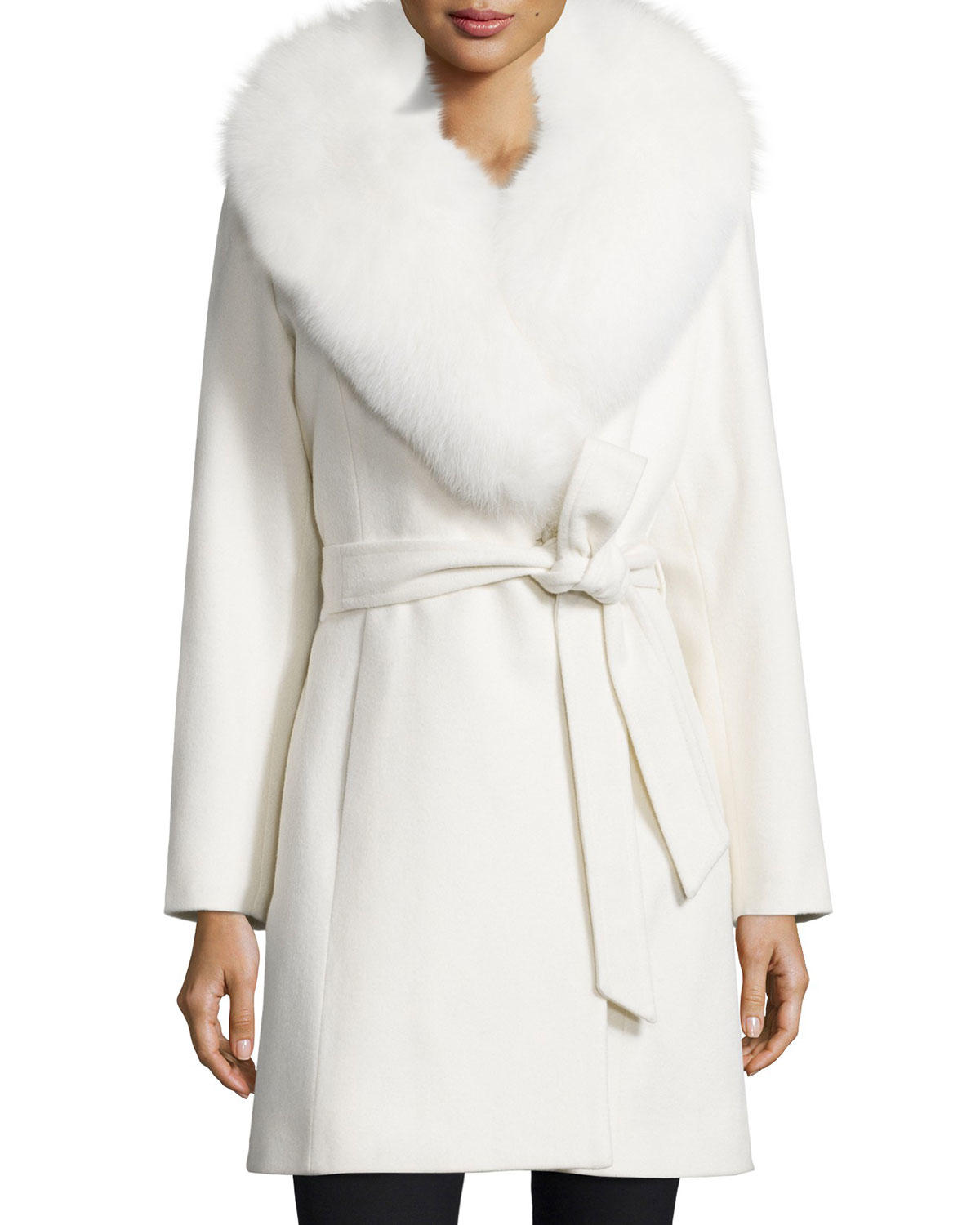 Sofia cashmere Ls Fox Fur Collar Short Wrap in White | Lyst