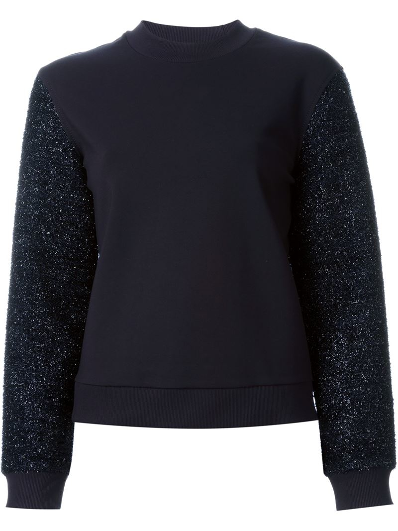 Tory Burch Tinsel Sleeve Sweatshirt In Blue For Men Save