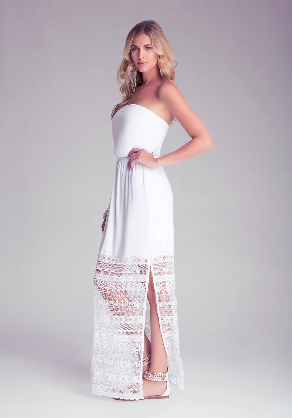 Bebe Lace Contrast Maxi Dress In White Lyst