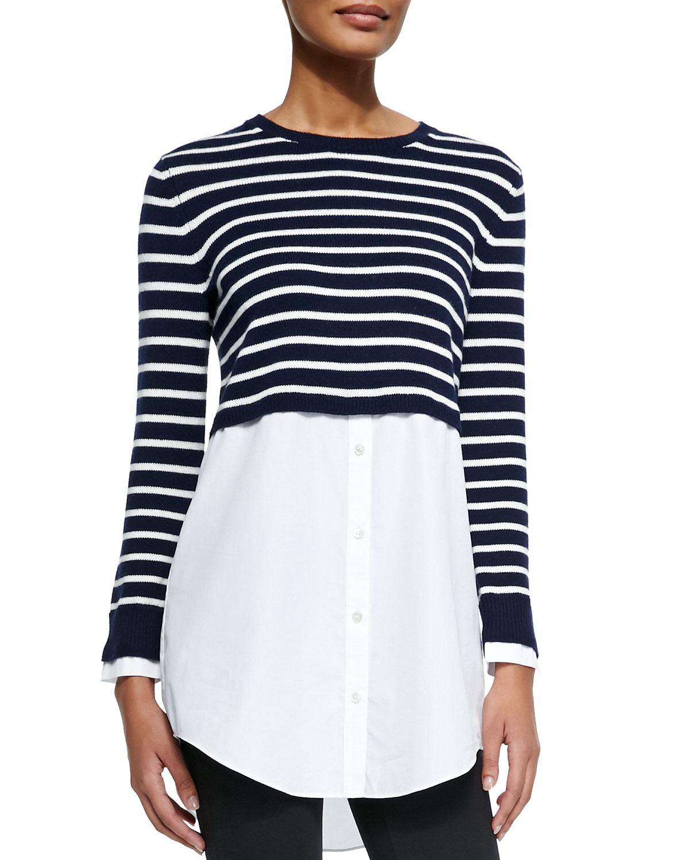 Theory Rymalia Striped Cropped Sweater W/underlay in Blue | Lyst