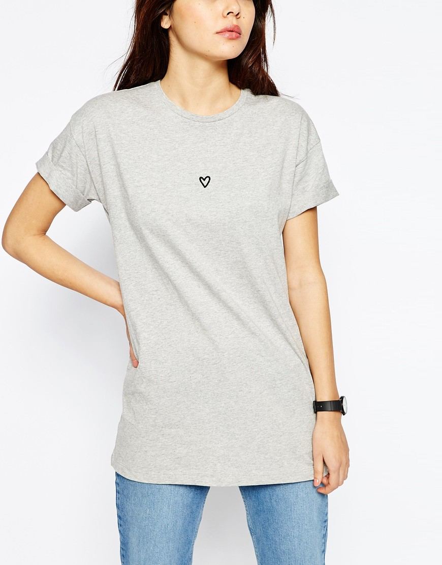 Asos Tall Oversized T Shirt With Embroidered Heart Lyst
