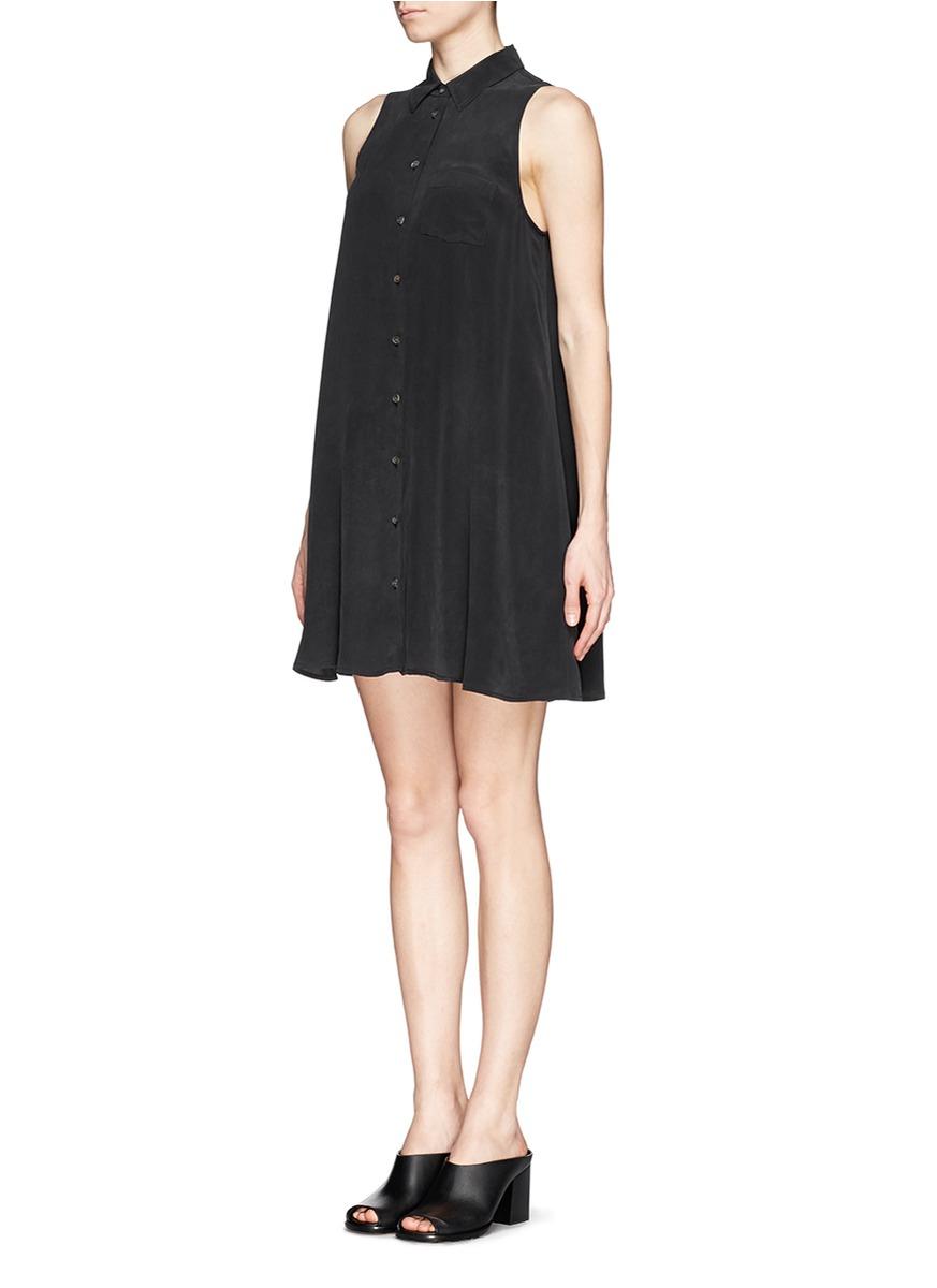 Lyst - Equipment Mina Sleeveless Shirt Dress in Black