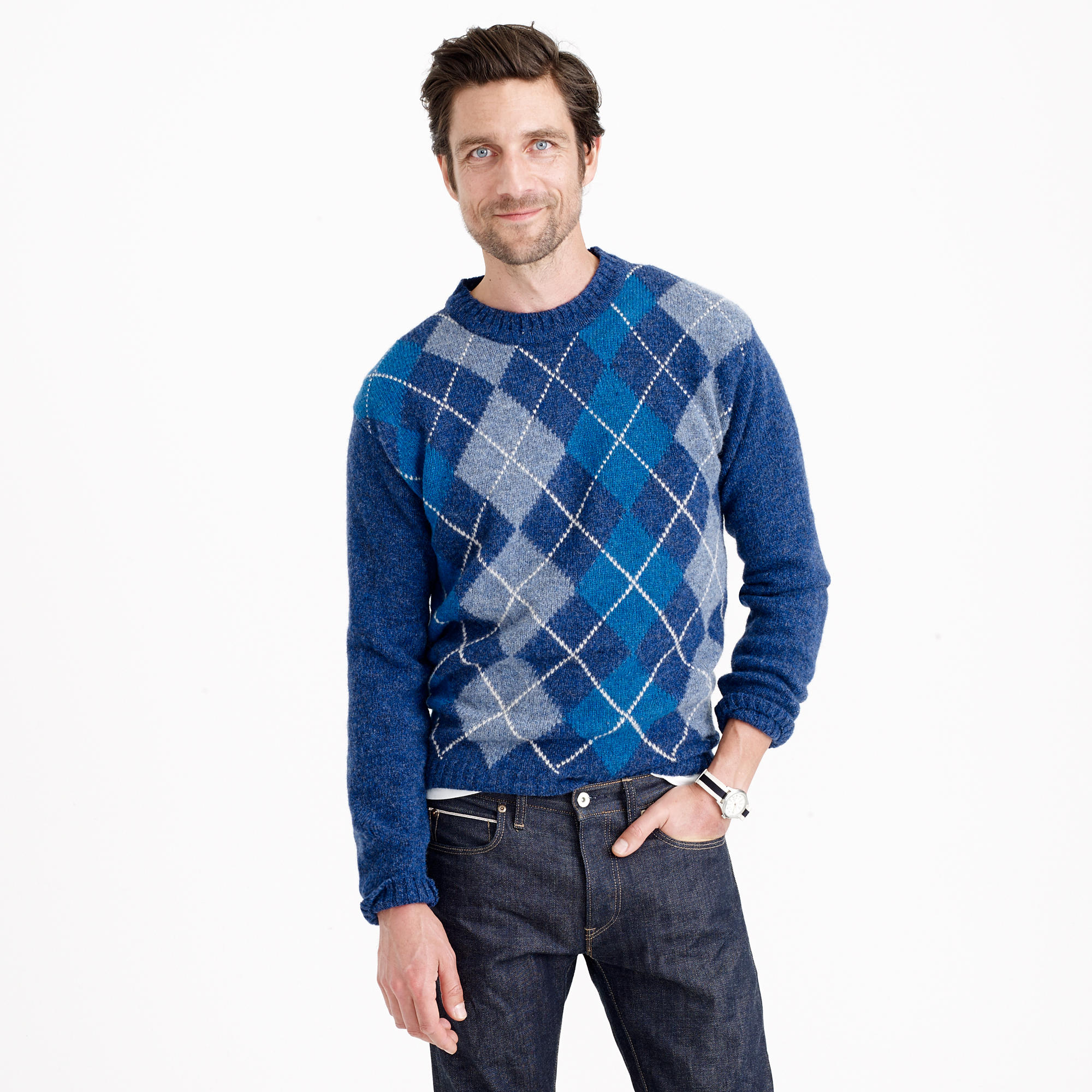 J.crew Harley Of Scotland Argyle Sweater in Blue for Men | Lyst