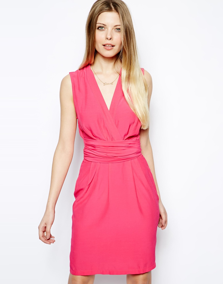 a3709ce38cf wrap dress with tulip skirt and long sleeve