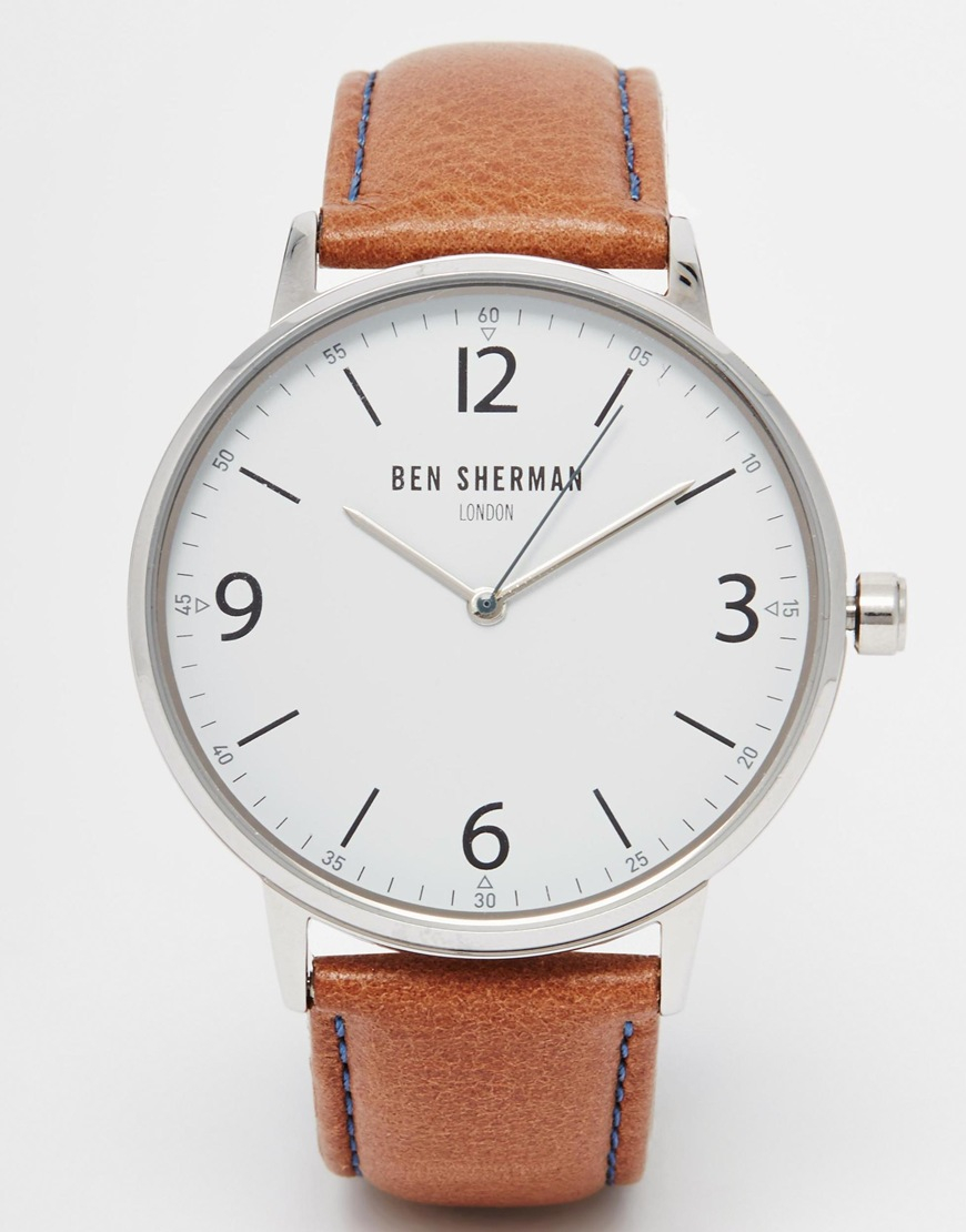 190a31b11 Ben Sherman Leather Strap Watch in Brown for Men - Lyst