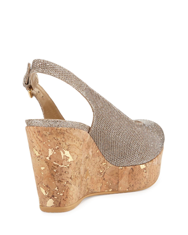 stuart weitzman jean glitter cork wedge sandals in