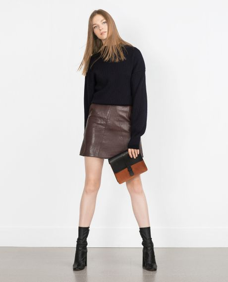 zara faux leather skirt in purple burgundy lyst