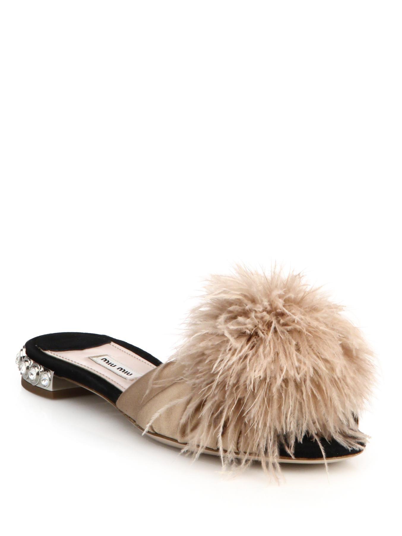 Miu Miu Feather Amp Crystal Embellished Suede Slide Sandals