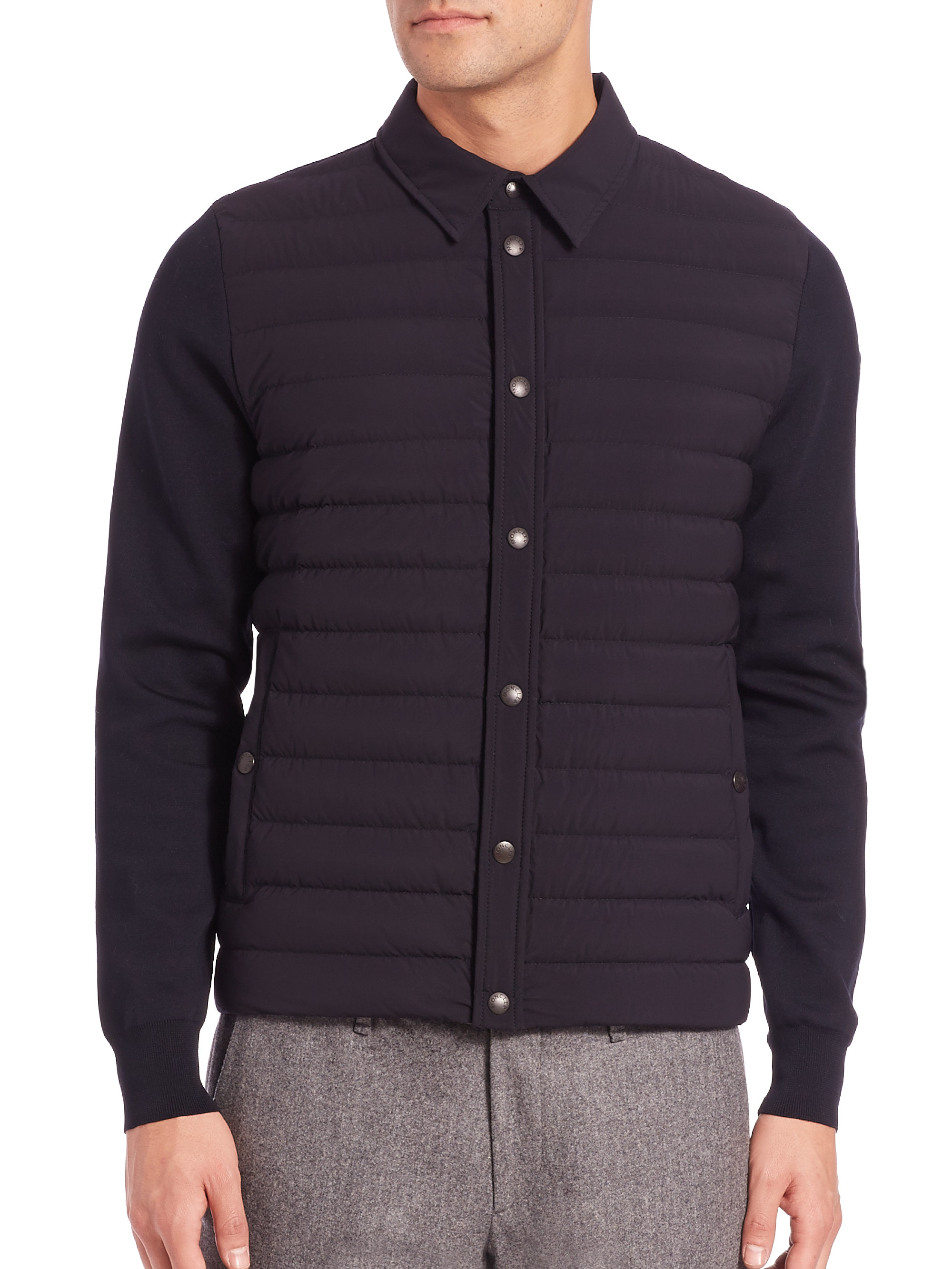 Moncler Knit Cardigan Sweater in Black for Men | Lyst