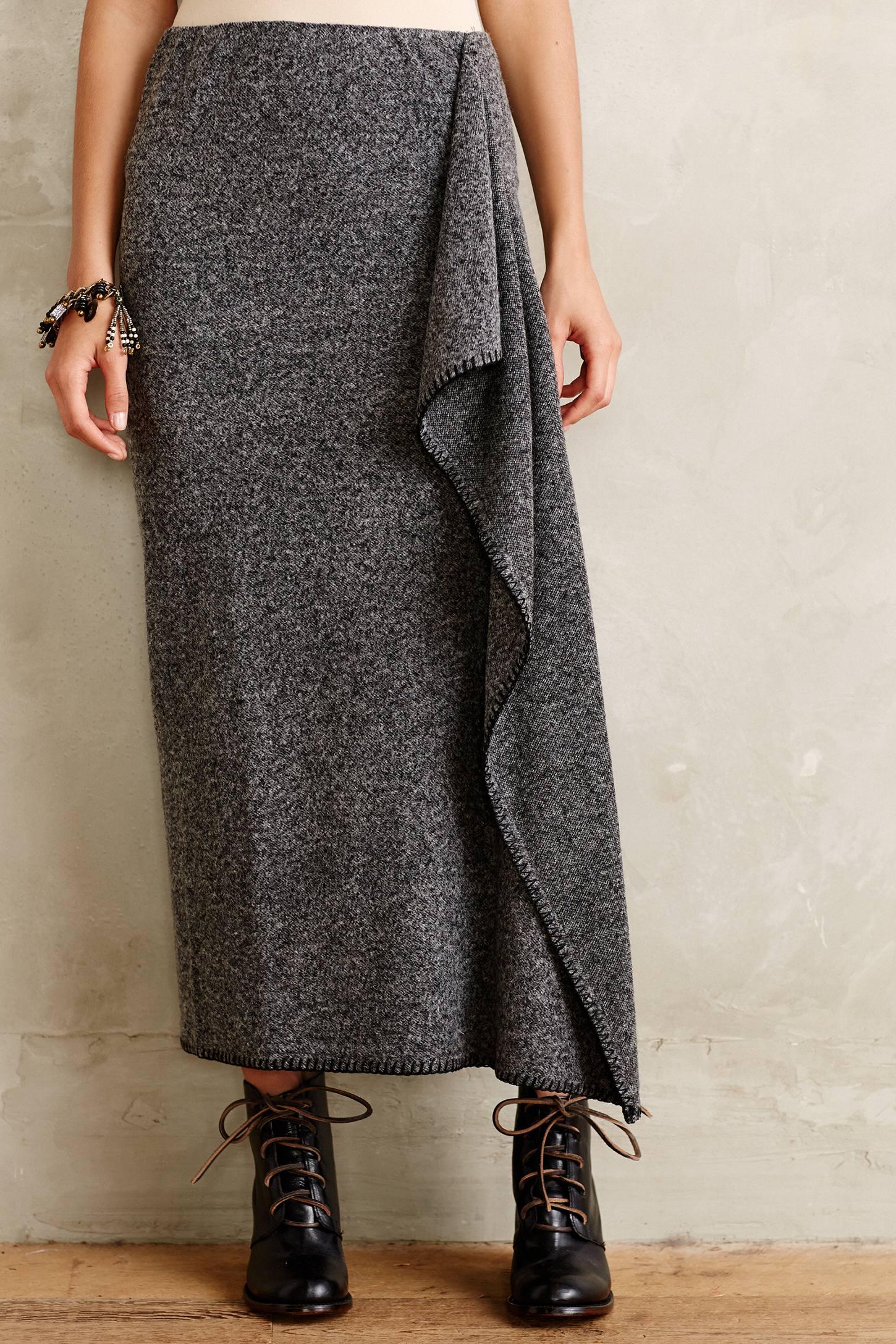 bailey 44 draped sweaterknit maxi skirt in gray grey lyst