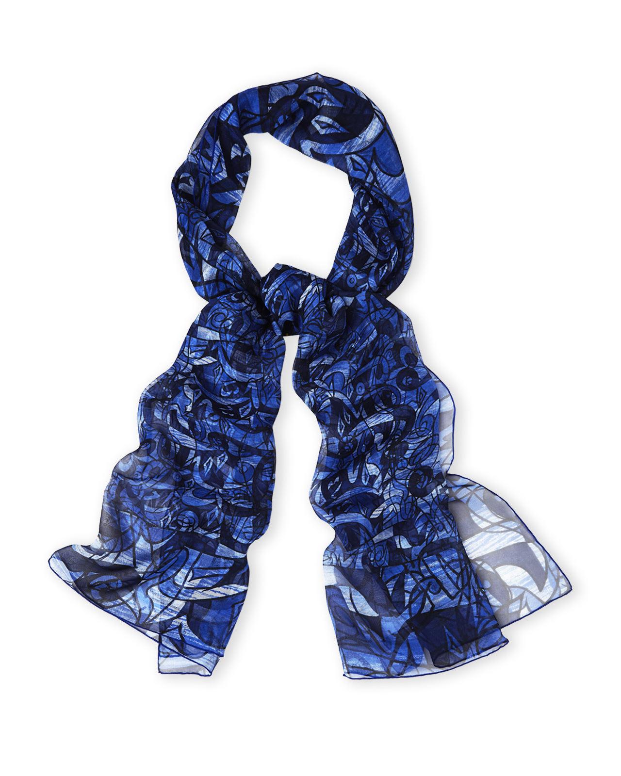 Dior Oblong Silk Scarf In Blue Lyst