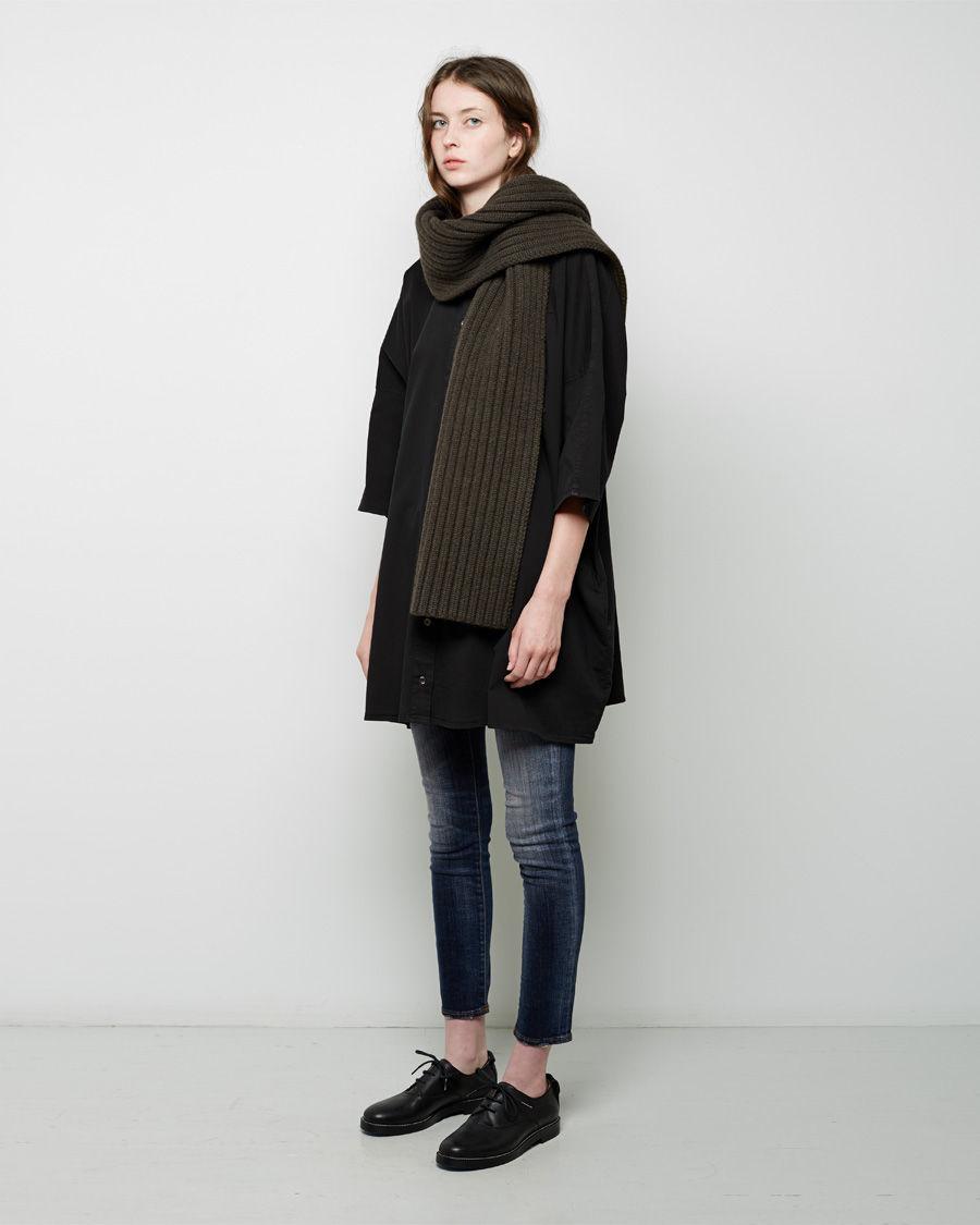 Lyst mm6 by maison martin margiela rib knit scarf in green for Mm6 maison martin margiela