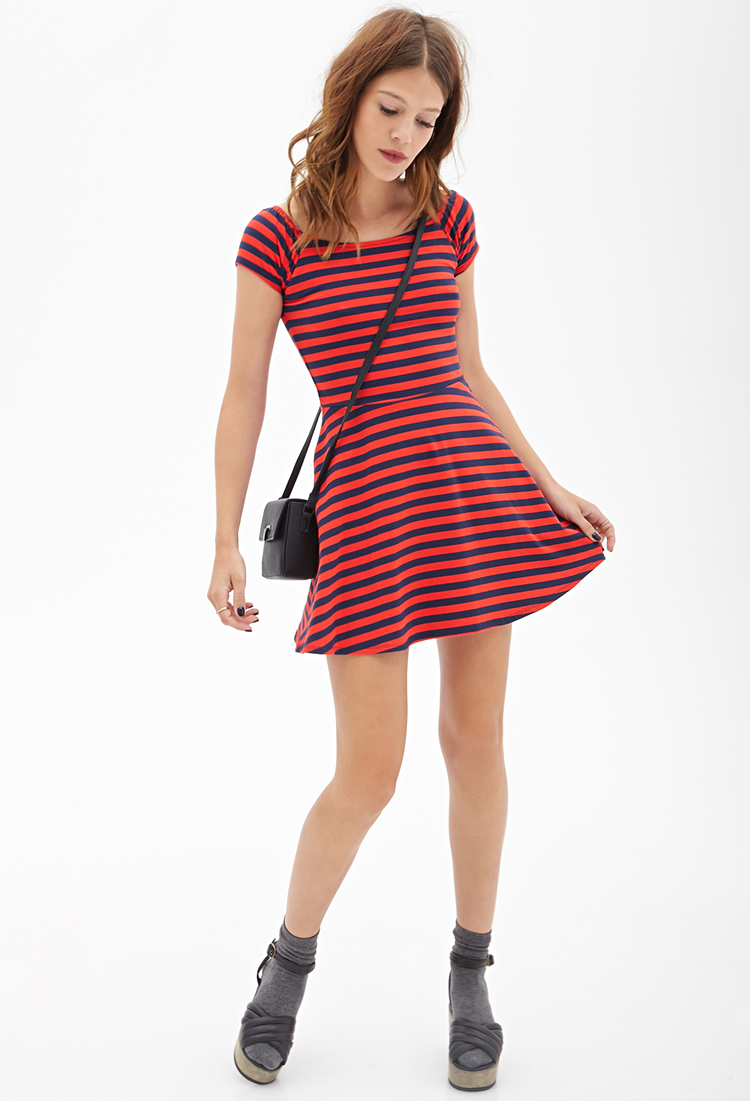 ce0e0b5fccd Lyst - Forever 21 Striped Knit Skater Dress You ve Been Added To The ...