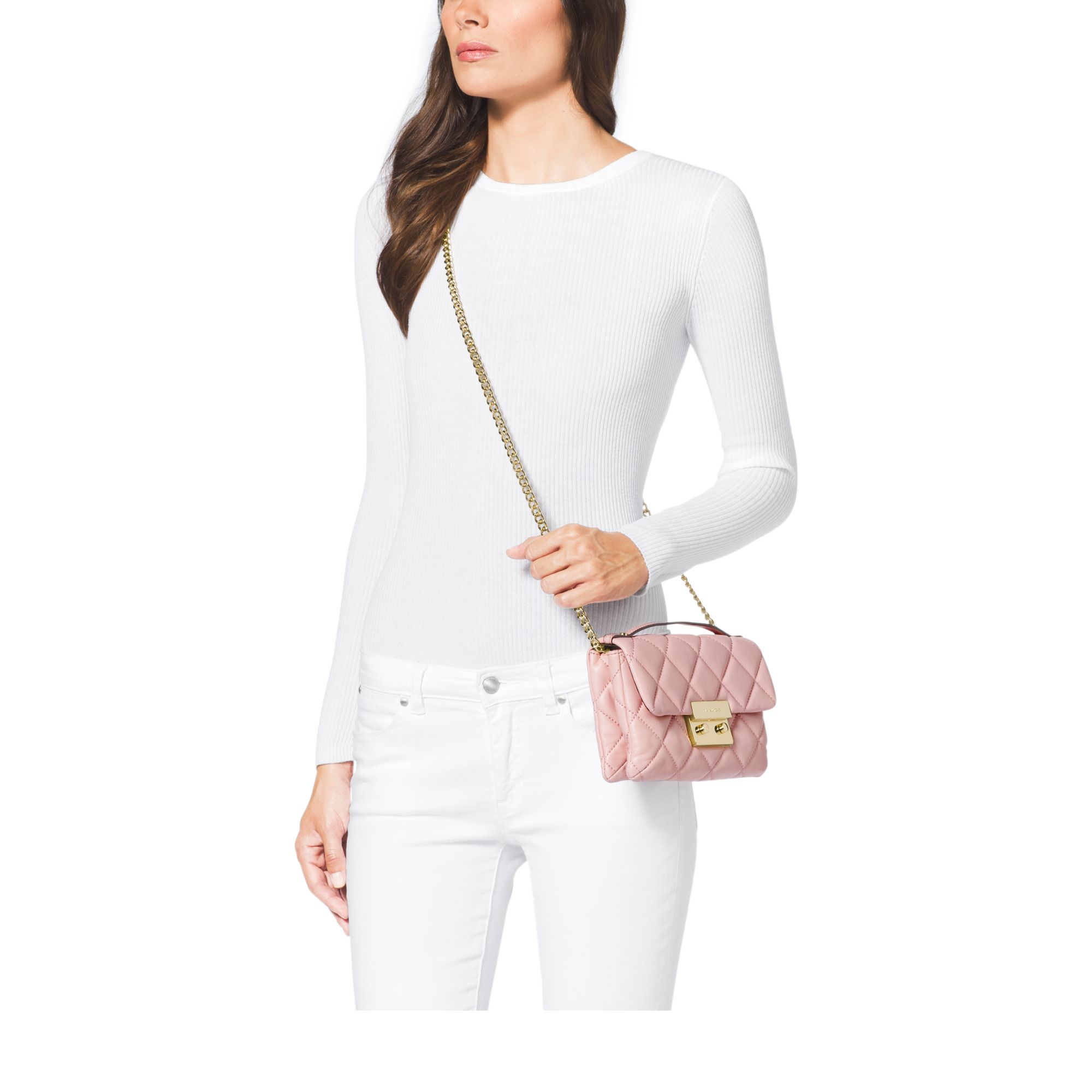 19eac8694d94 Lyst - Michael Kors Sloan Small Quilted Cross-Body Bag in Pink