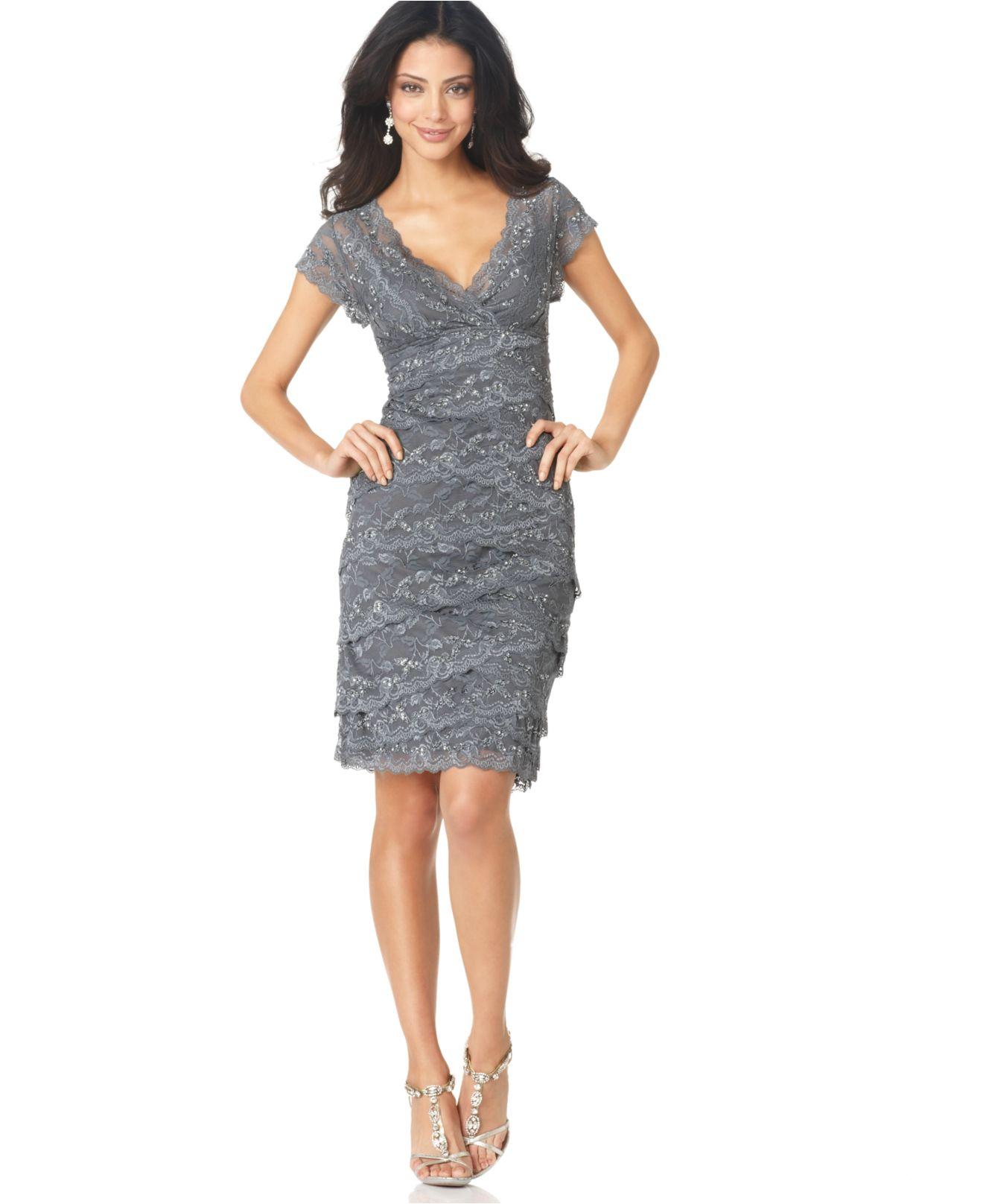 Marina Petite Cap-Sleeve Lace Dress in Gray | Lyst