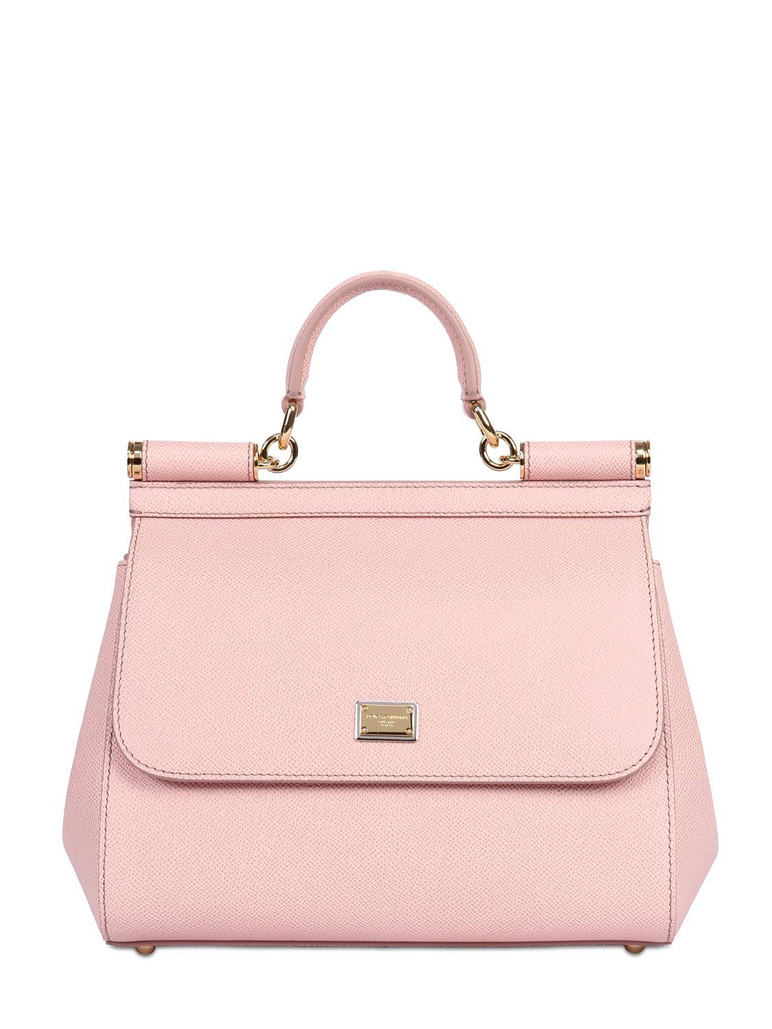 df4c1708d800f Dolce & Gabbana Medium Sicily Dauphine Leather Bag in Pink - Lyst
