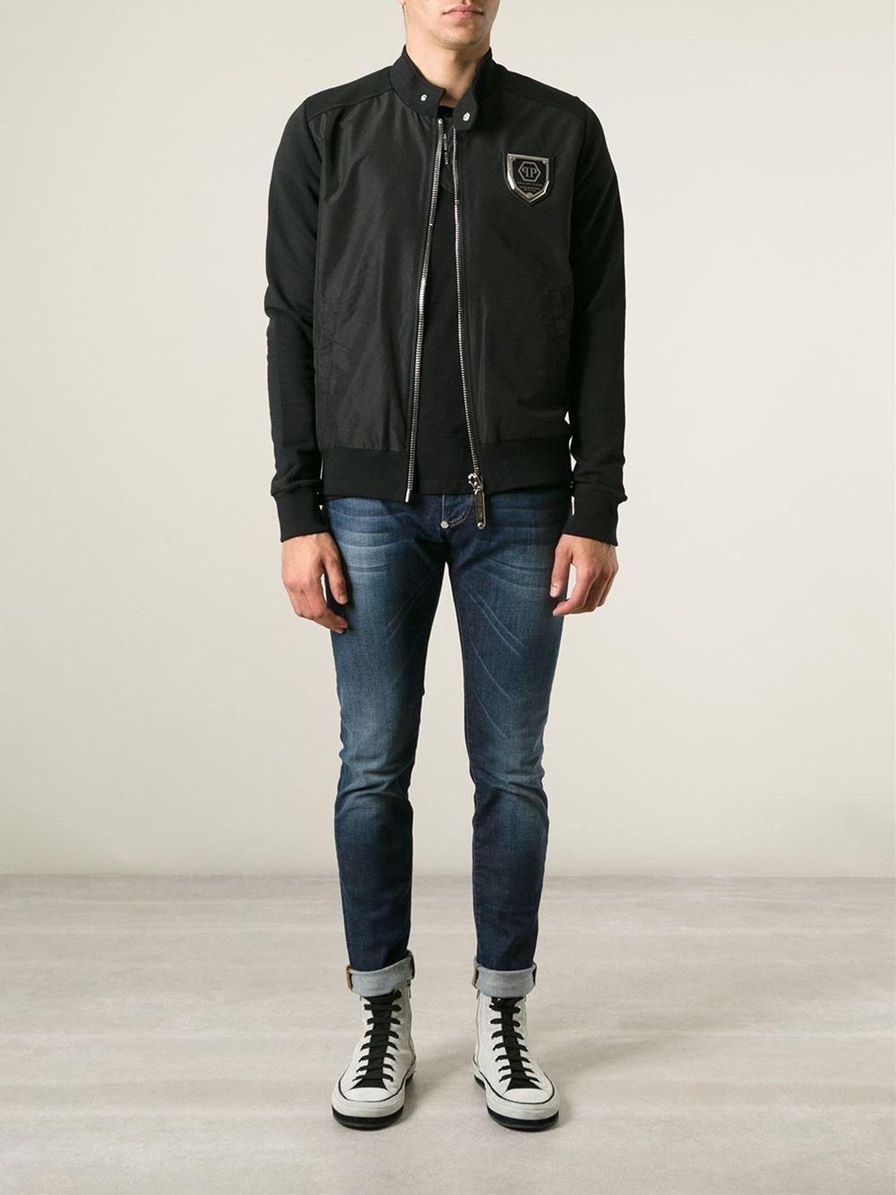 philipp plein 39 turn down 39 sweat jacket in black for men lyst. Black Bedroom Furniture Sets. Home Design Ideas