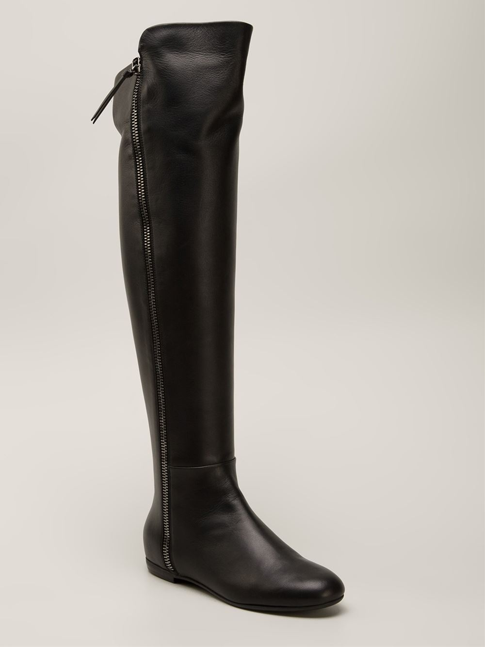 lyst giuseppe zanotti over the knee boots in black rh lyst com
