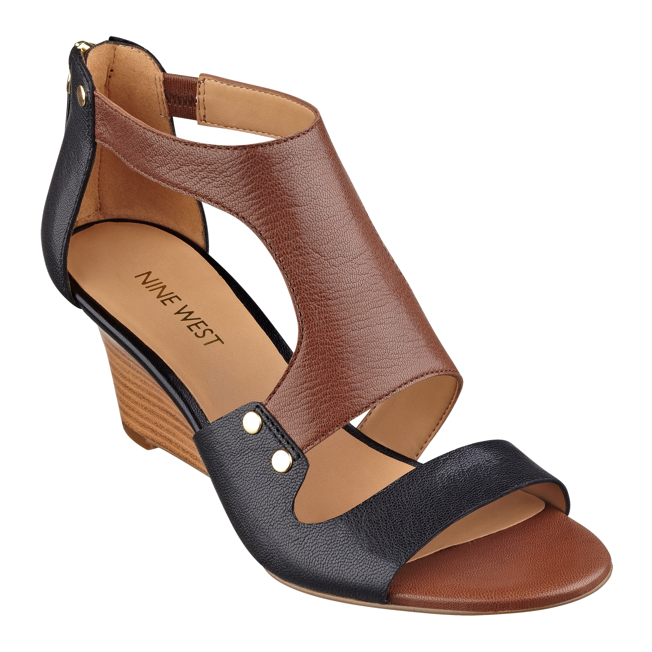 nine west rooster wedge sandals in black black brown le lyst