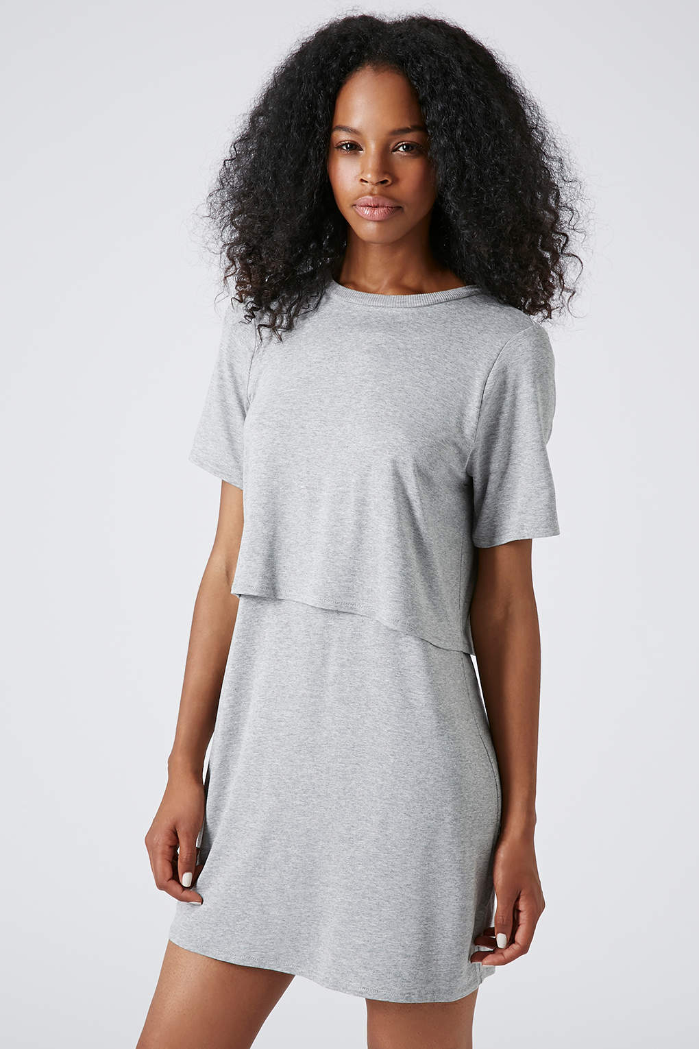 Lyst topshop sporty overlay tshirt dress in gray for Sporty t shirt dress