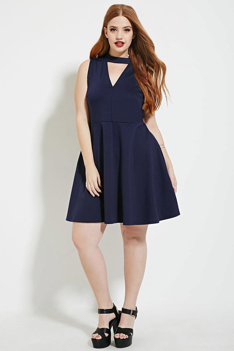 Lyst - Forever 21 Plus Size V-neck Dress in Blue