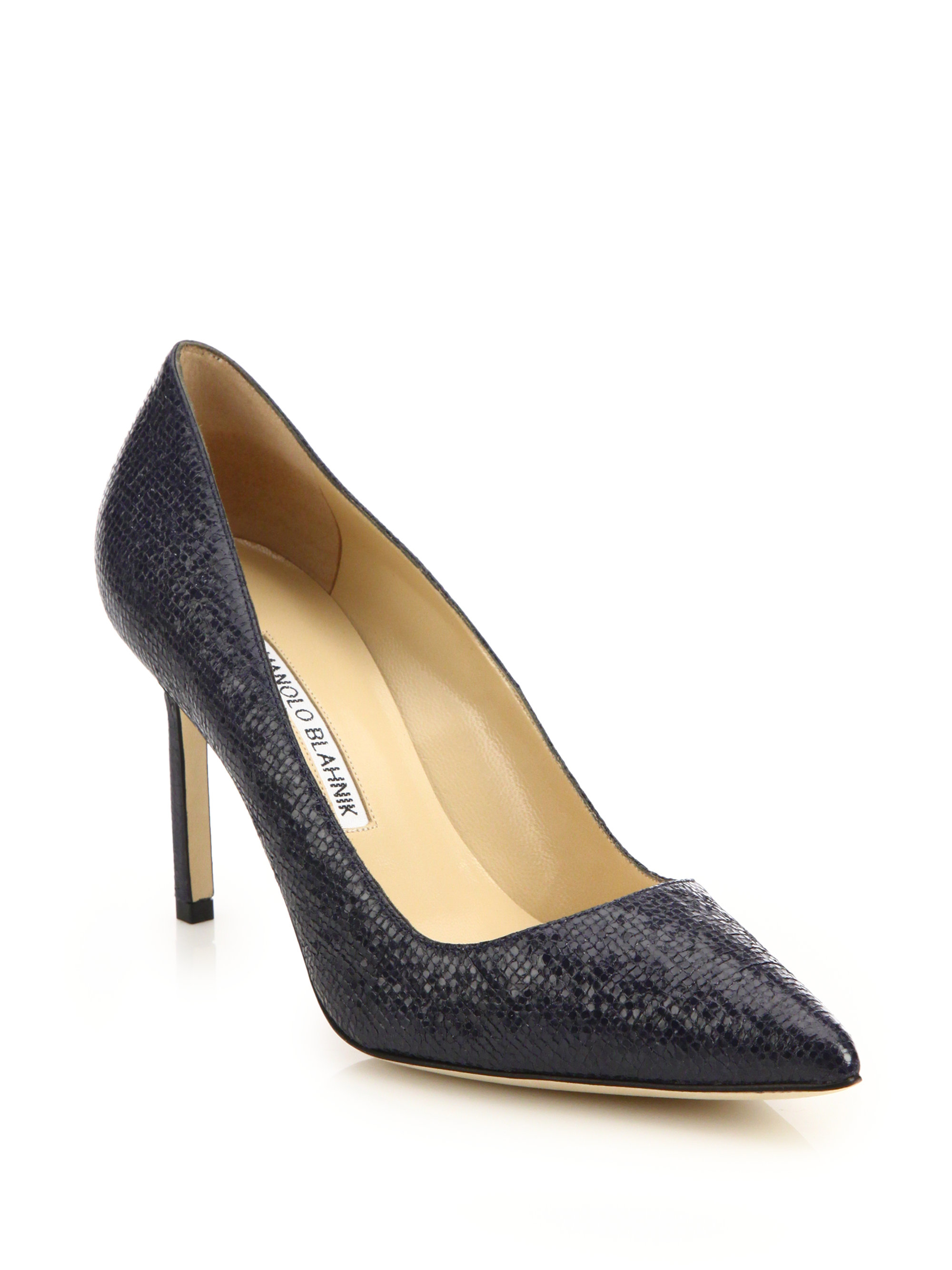 cd6e399b695ed Manolo Blahnik Bb 75 Embossed Patent Leather Pumps in Blue - Lyst