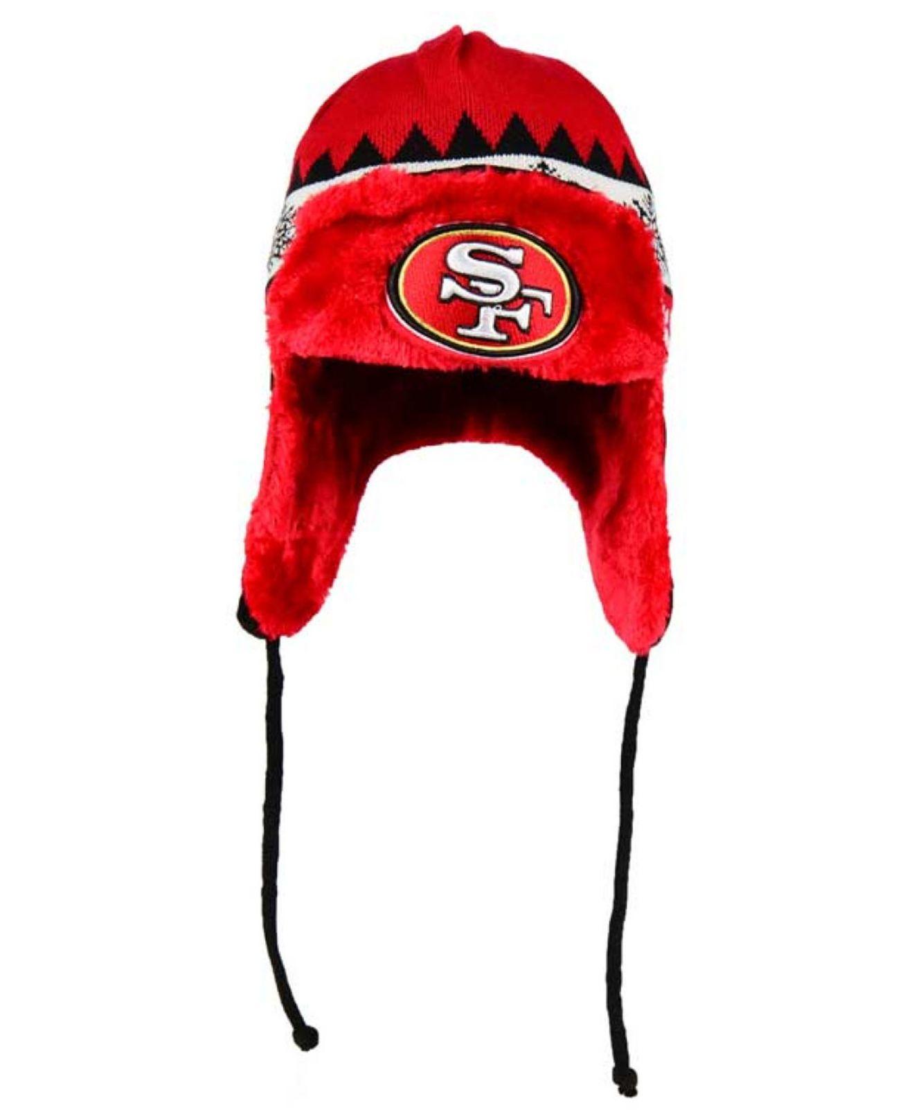 7d704386 Men's Red San Francisco 49ers Moose Trapper Knit Hat