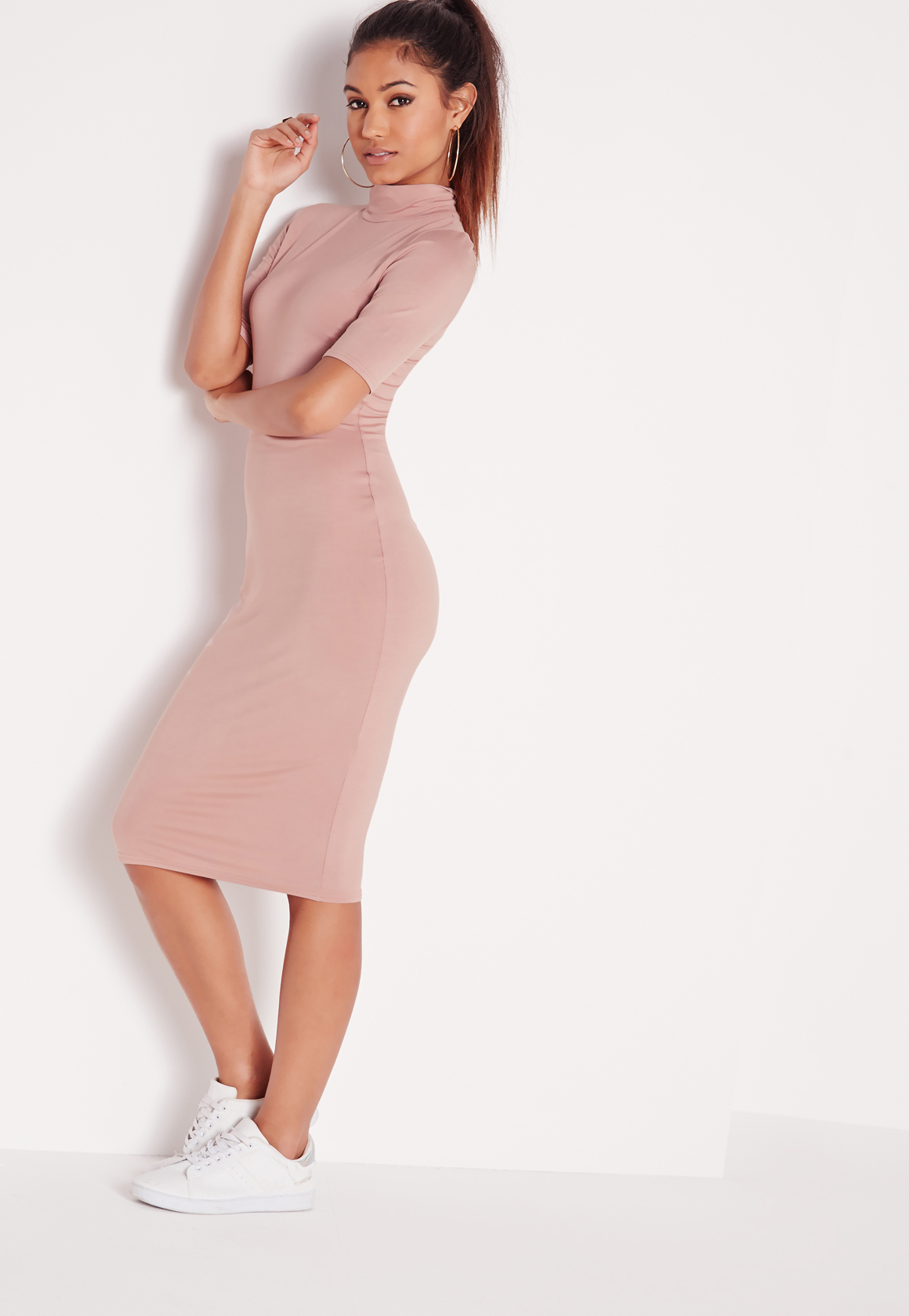 Missguided high neck short sleeve bodycon dress dusky pink in blue lyst - Femme mure en chaleur ...