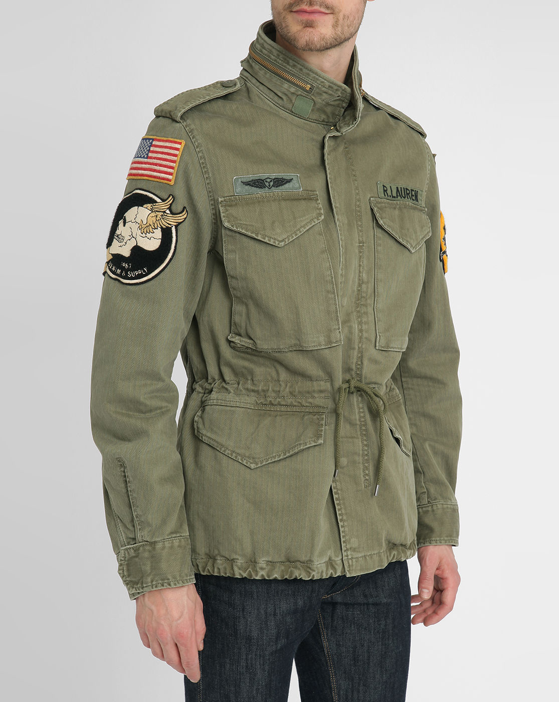 denim supply ralph lauren khaki m65 cotton patch jacket. Black Bedroom Furniture Sets. Home Design Ideas