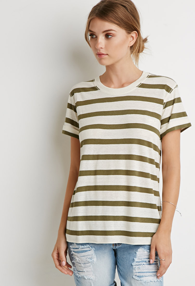 Lyst Forever 21 Contemporary Cuffed Sleeve Stripe Tee In