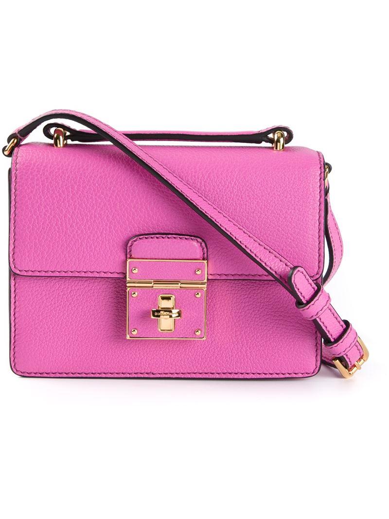797da571b8 Dolce   Gabbana Rosalia Calf-Leather Shoulder Bag in Pink - Lyst