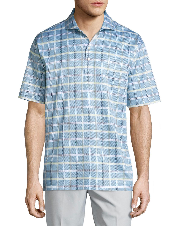 lyst robert talbott short sleeve jacquard polo shirt in