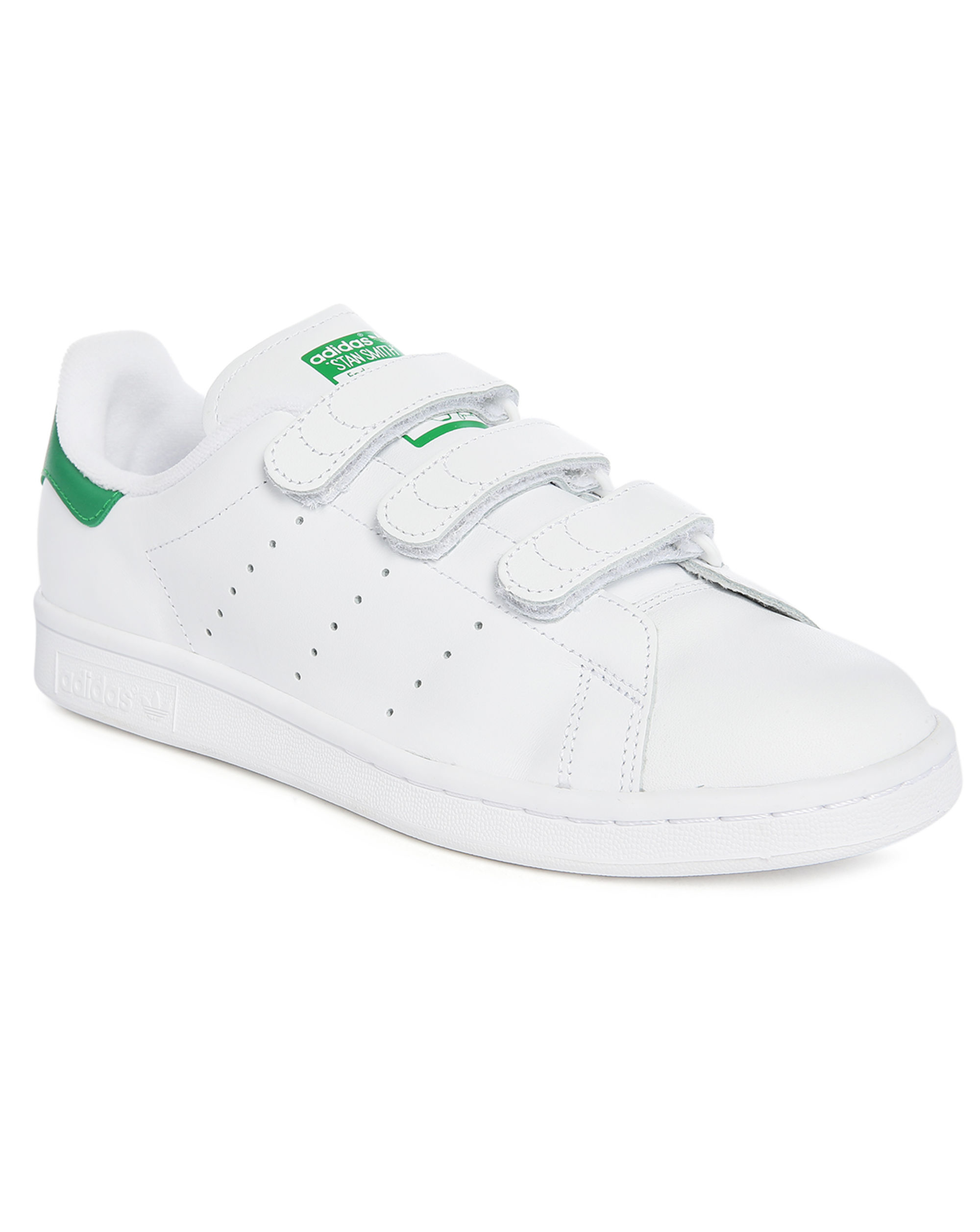 adidas originals white green stan smith leather velcro sneakers in green for men lyst. Black Bedroom Furniture Sets. Home Design Ideas