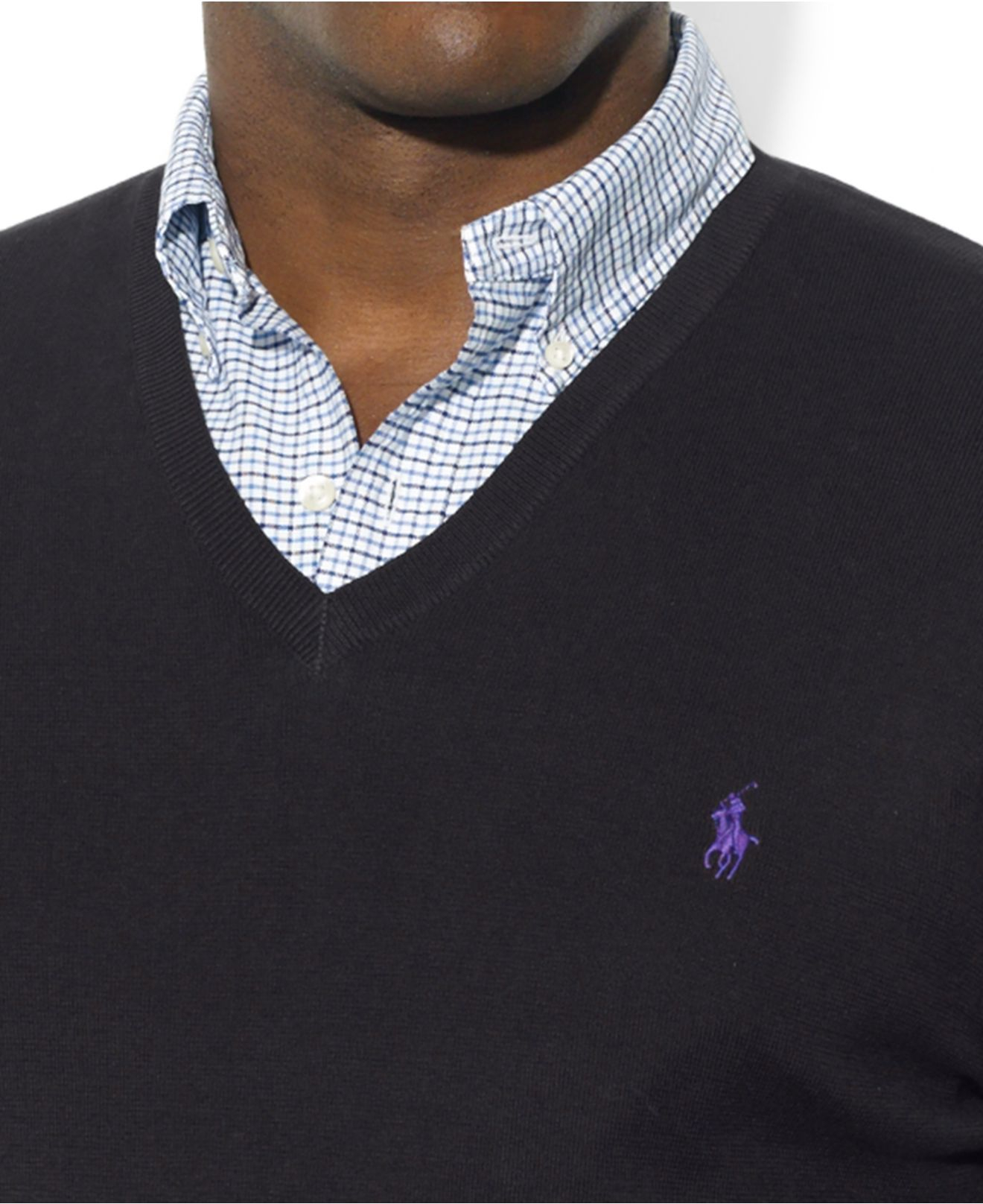 Polo ralph lauren Big And Tall Pima Cotton V-Neck Sweater in Blue ...