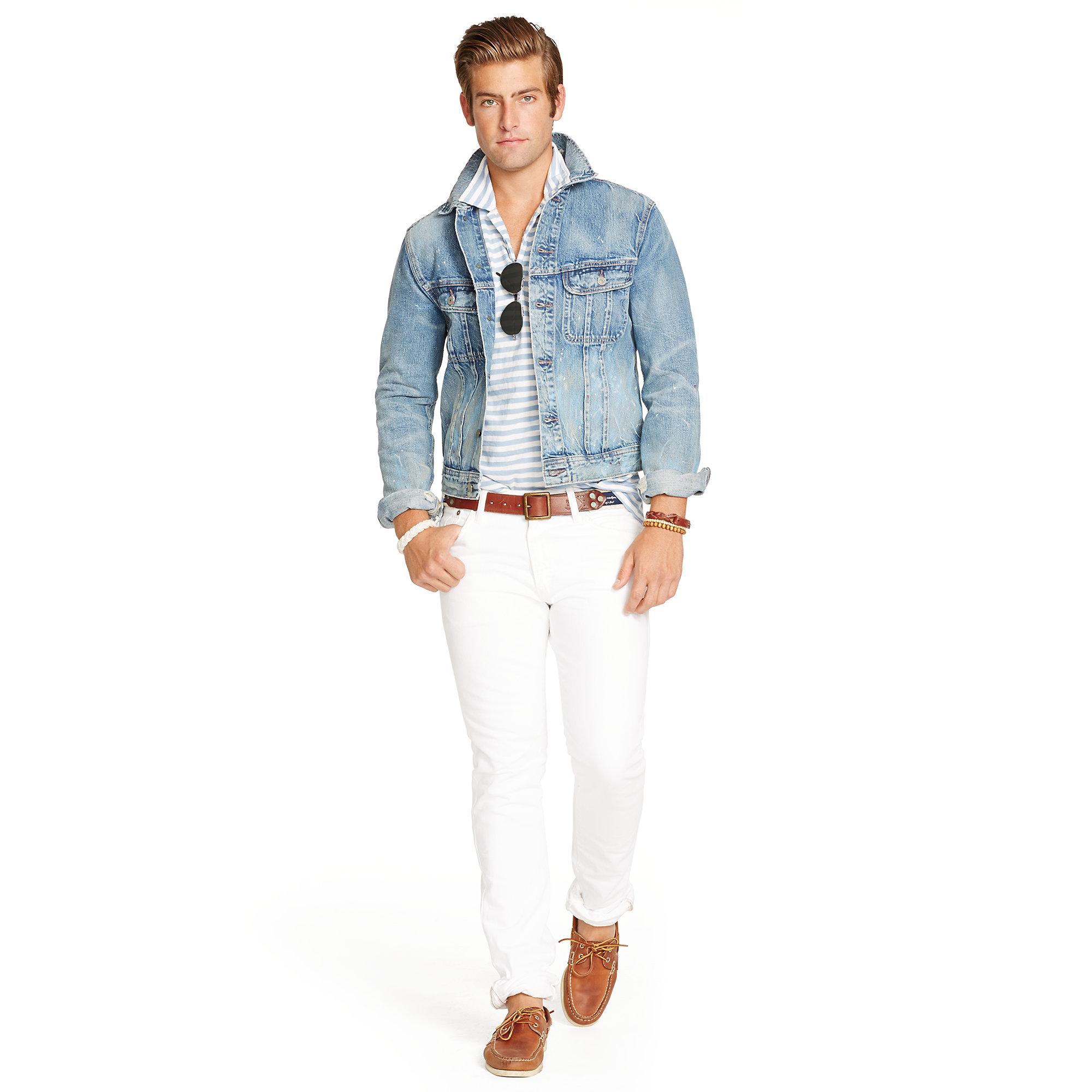 Polo Ralph Lauren Distressed Denim Jacket In Blue For Men