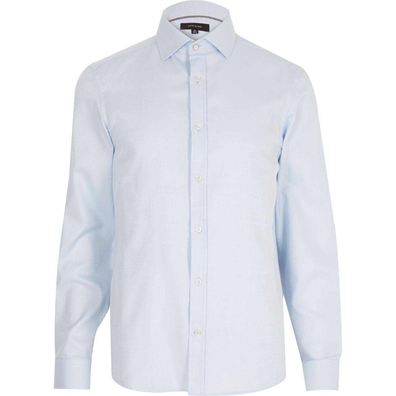 River Island Light Blue Long Sleeve Formal Shirt In Blue