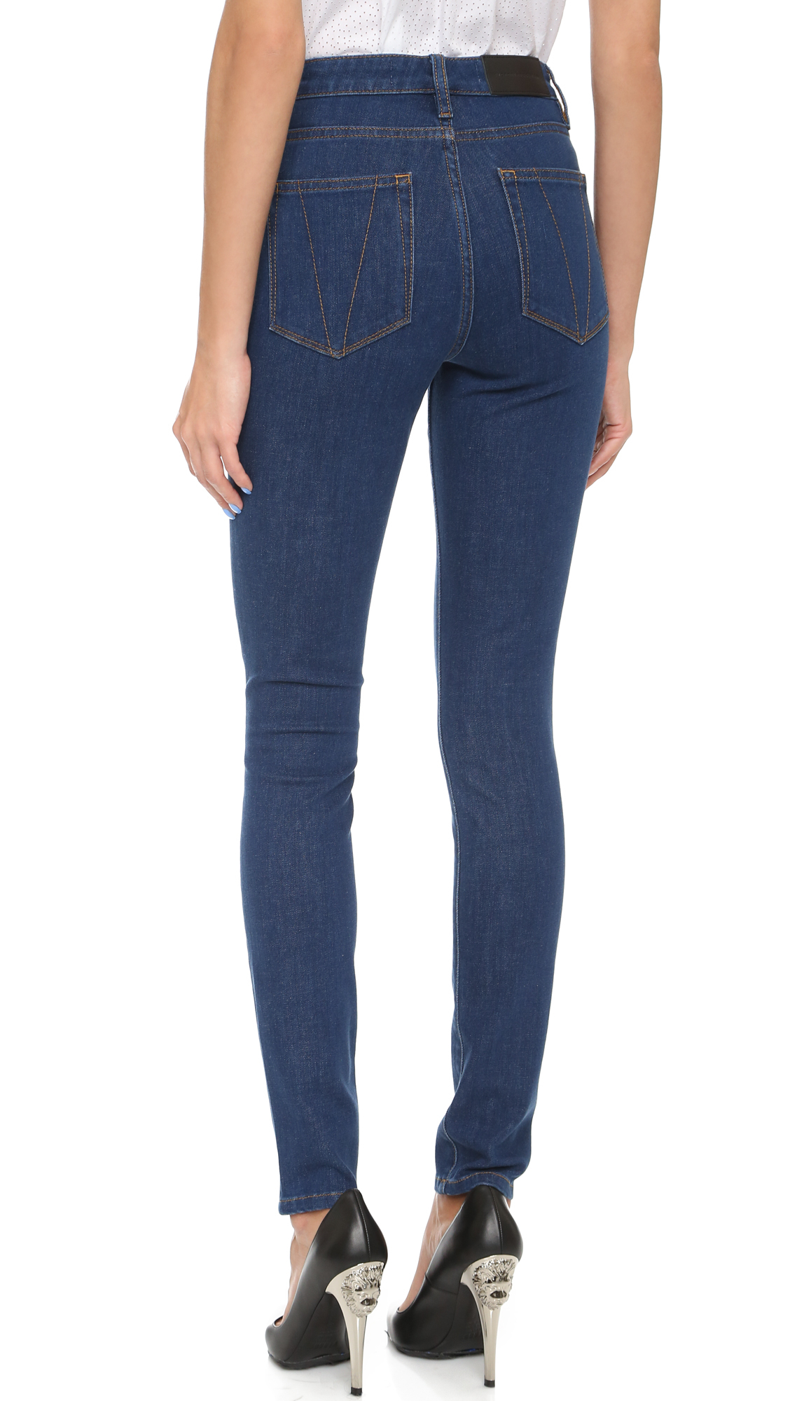 victoria beckham powerhigh skinny jeans blue 17 in blue lyst. Black Bedroom Furniture Sets. Home Design Ideas