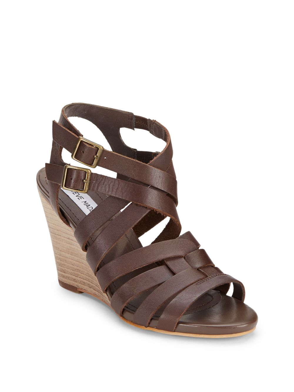 steve madden venis leather wedge sandals in brown lyst