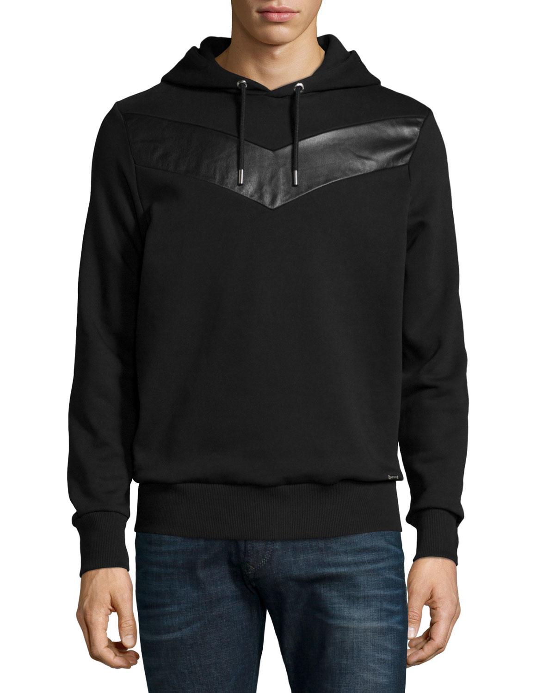 Black leather hoodie