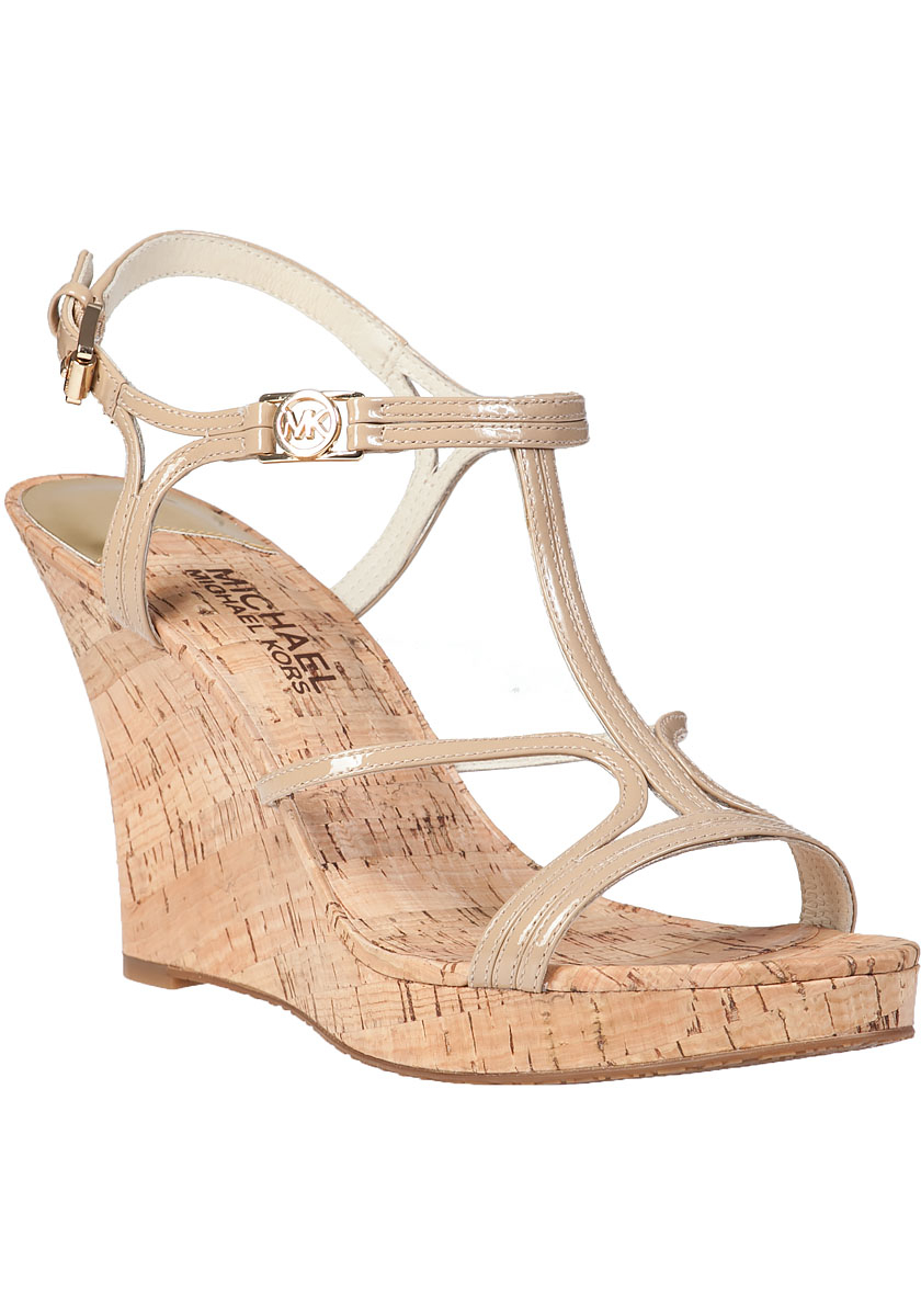 280512b4ef MICHAEL Michael Kors Cicely Wedge Sandal Nude Patent in Natural - Lyst