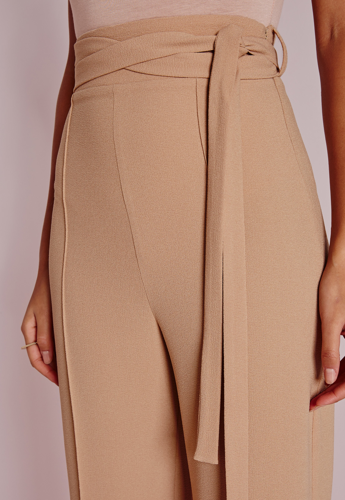 Missguided Petite Tie Waist Crepe Wide Leg Pants Camel In